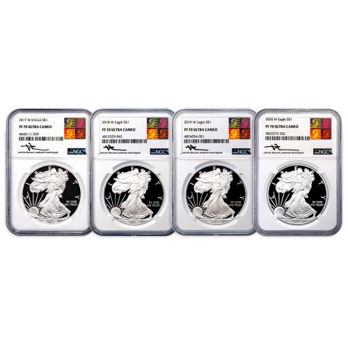 Set of 4: 2017-W - 2020-W American Silver Eagles PF70 Ultra Cameo