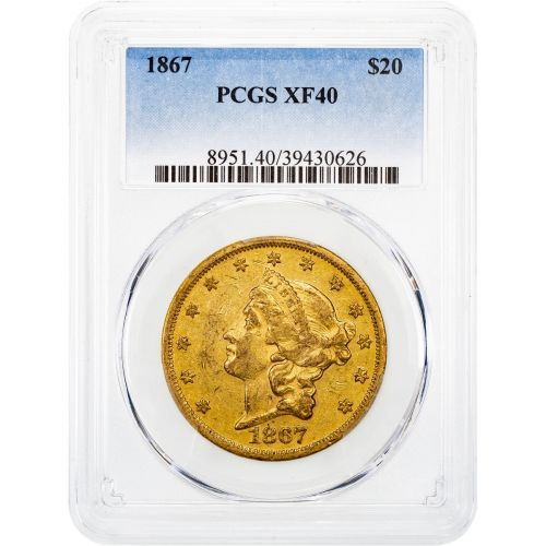 1867-P Liberty Head Gold Double Eagle XF40