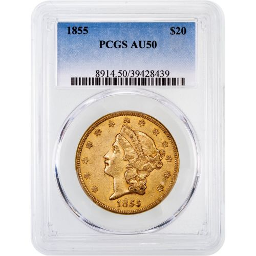 1855-P Liberty Head Gold Double Eagle AU50
