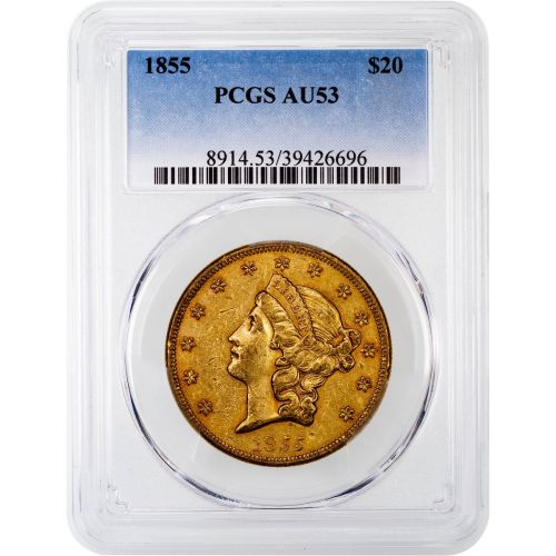 1855-P Liberty Head Gold Double Eagle AU53