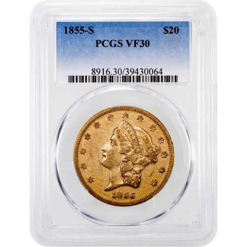 1855-S Liberty Head Gold Double Eagle VF30