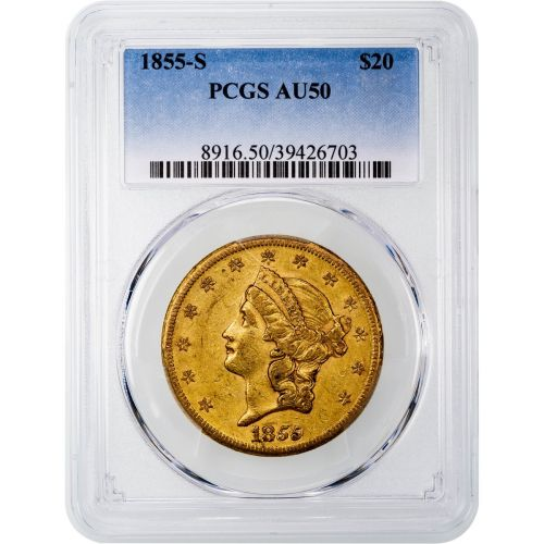 1855-S Liberty Head Gold Double Eagle AU50