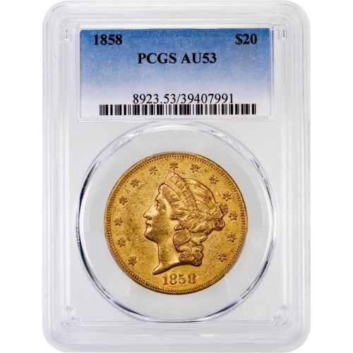 1858-P Liberty Head Gold Double Eagle AU53