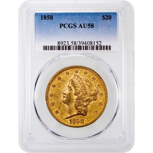 1858-P Liberty Head Gold Double Eagle AU58