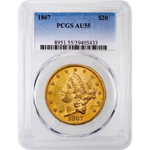 1867-P Liberty Head Gold Double Eagle AU55