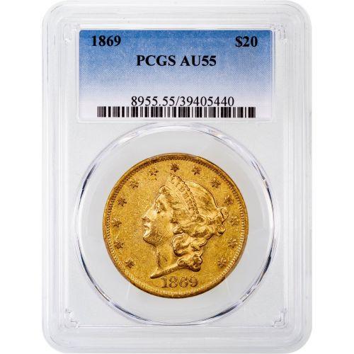 1869-P Liberty Head Gold Double Eagle AU55