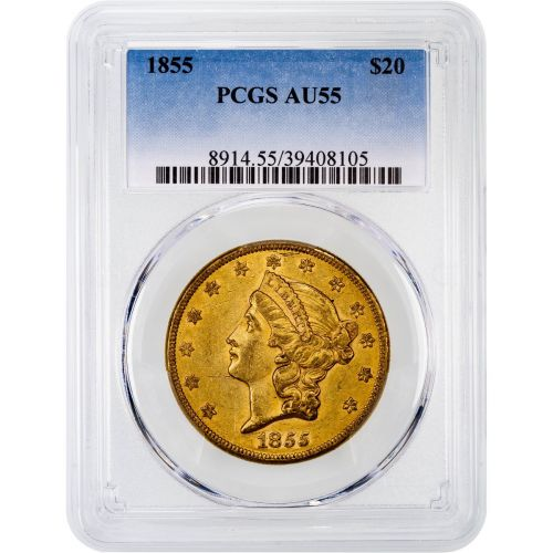 1855-P Liberty Head Gold Double Eagle AU55
