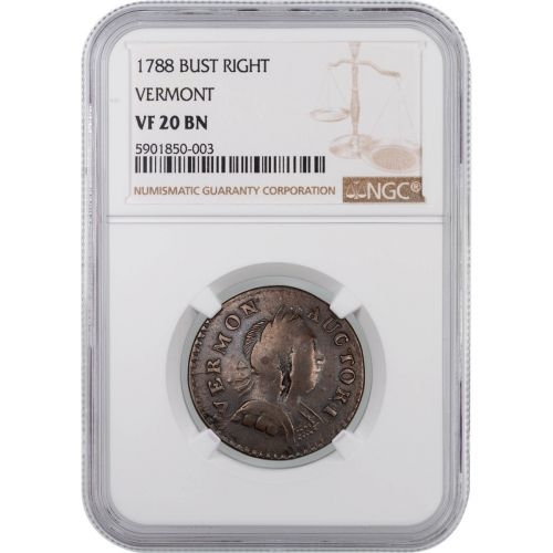 1788 Vermont Bust Right NGC VF20BN