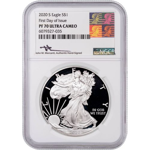 2020-S American Silver Eagle NGC PF70 UCAM Reagan Mercanti Label First Day of Issue