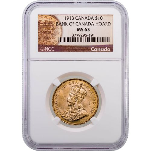 Canada 1913 George V Ten Dollar Gold Piece NGC MS63