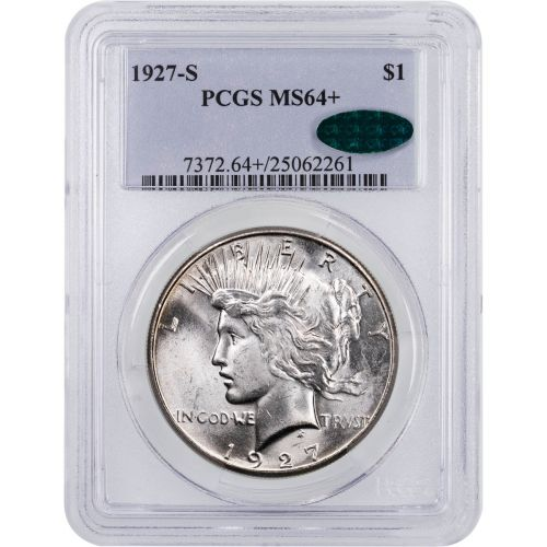 1927-S Peace Dollar PCGS MS64+ CAC
