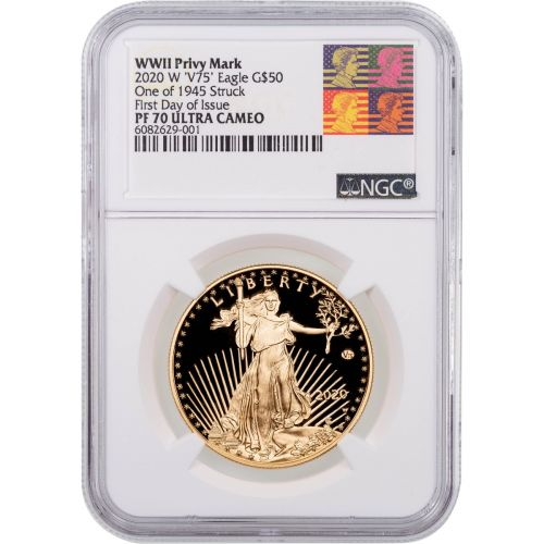 2020-W WWII 75th Anniversary Privy American Gold Eagle NGC PF70 UCAM Reagan Label