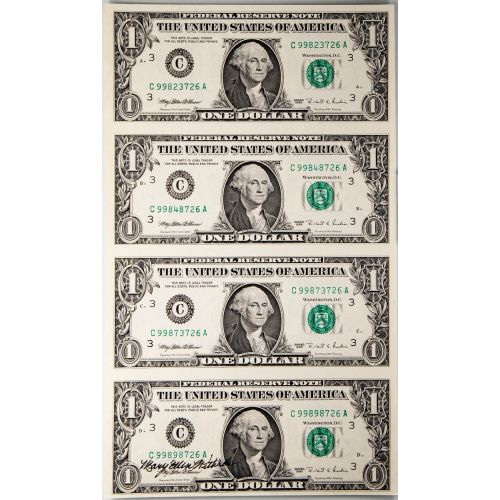 Sheet of 4: $1 1995 Federal Reserve Notes