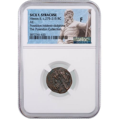 C. 275-215 BC Ancient Greece Poseidon with Trident Reverse Copper Coin NGC Fine