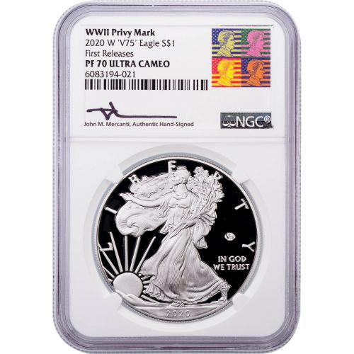 2020-W WWII Privy Mark American Silver Eagle NGC PF70UCAM First Release Reagan Mercanti Label