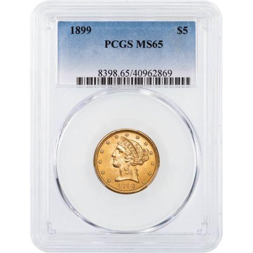 1899-P Liberty Head Gold Half Eagle MS65