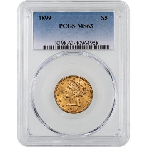 1899-P Liberty Head Gold Half Eagle MS63
