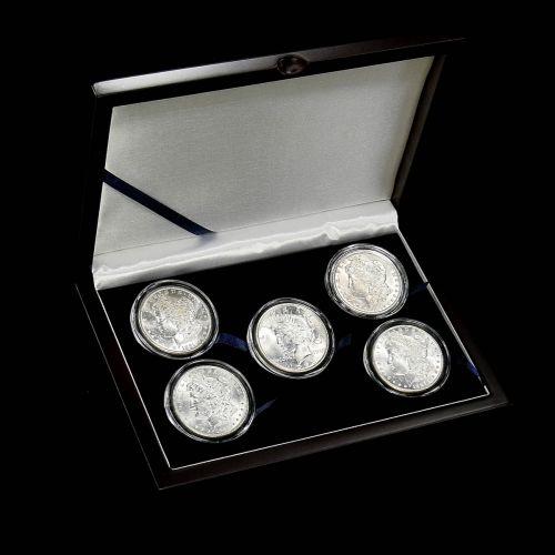 Set of 5: Varied Date Morgan and Peace Silver Dollars BU