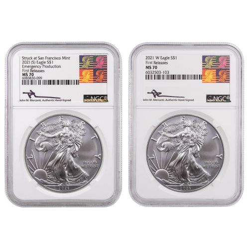 Set of 2: 2021 & 2021 (S) American Silver Eagles NGC MS70 FR