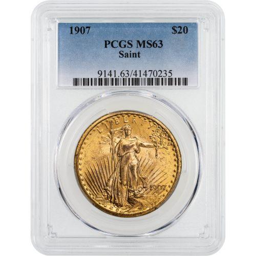 1907-P Saint-Gaudens $20 Gold Double Eagle MS63
