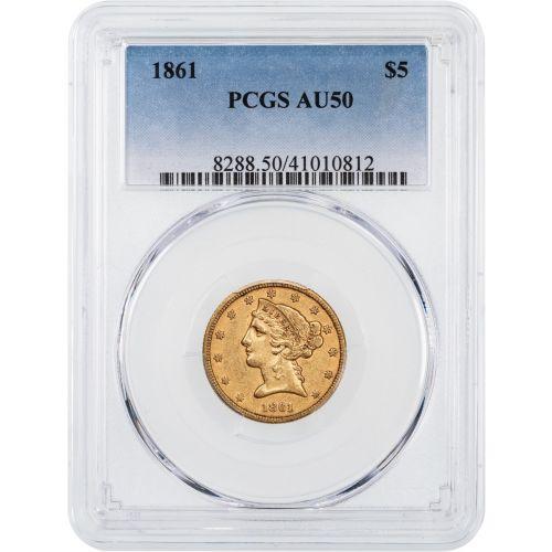 1861-P Type 1 Liberty Head Gold Half Eagle AU50