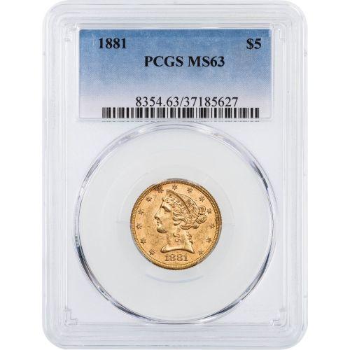 1881-P Liberty Head $5 Gold Half Eagle MS63