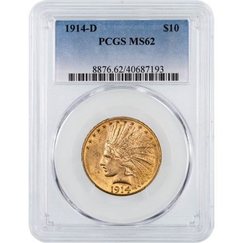 1914-D Indian Head Gold Eagle MS62