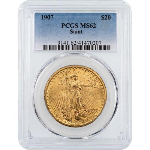 1907-P No Motto Saint Gaudens Double Eagle NGC/PCGS MS62