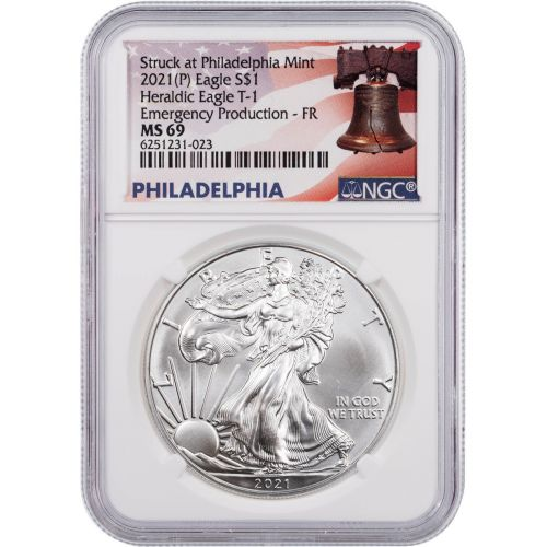 """2021(P) Type 1 American Silver Eagle NGC MS69 """"Emergency Production"""" FR Philadelphia Bell Label"""