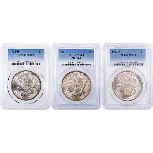 Set of 3: 1921-P, D, & S Morgan Dollar NGC/PCGS MS64
