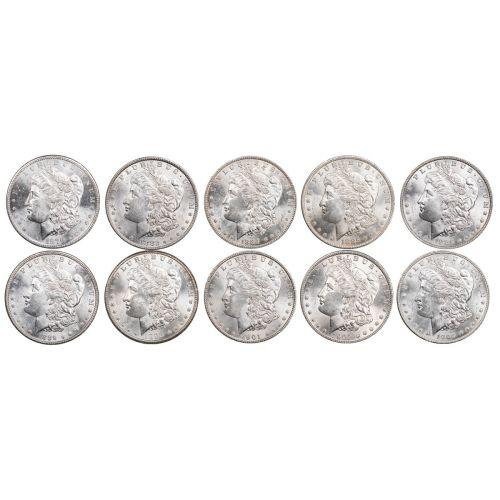 Set of 10: 1879-S - 1904-O Morgan Dollars Brilliant Uncirculated