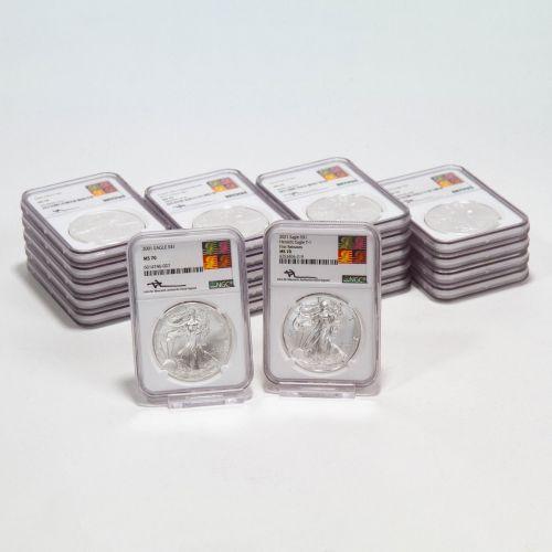Set of 21: 2001-2021 American Silver Eagles NGC MS70 Reagan Mercanti Label