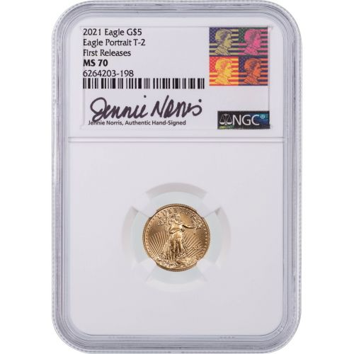2021-W Type 2 1/10oz American $5 Gold Eagle NGC MS70 First Releases Jennie Norris Signed Label
