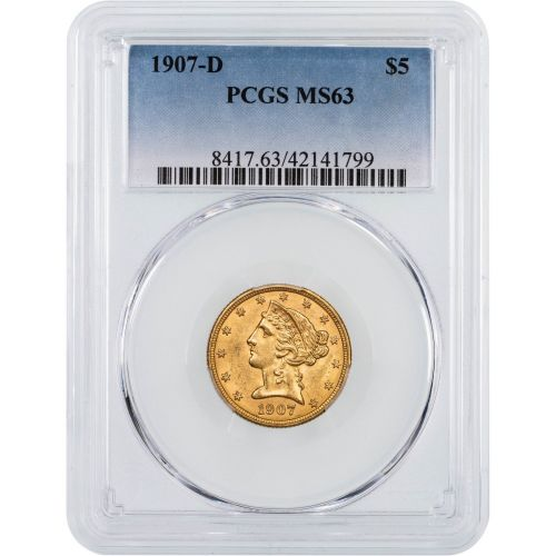 1907-D Liberty Head Gold Half Eagle NGC/PCGS MS63