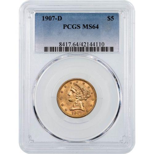 1907-D Liberty Head Gold Half Eagle NGC/PCGS MS64