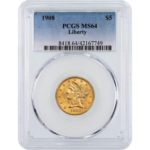 1908-P Liberty Head Gold Half Eagle NGC/PCGS MS64