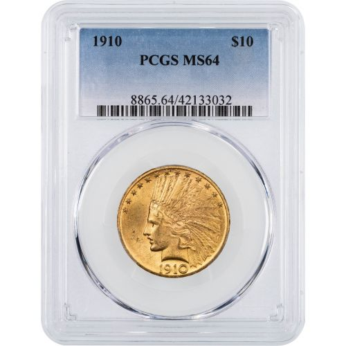 1910-P Indian Head Gold Eagle NGC/PCGS MS64