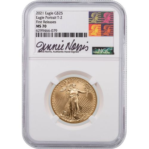 2021 1/2oz Type 2 American $25 Gold Eagle NGC MS70 First Release Signed By Jennie Norris