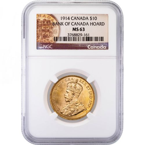 Canada 1914 George V Ten Dollar Gold Piece NGC MS63