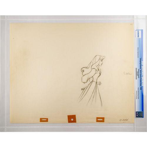 "Disney's ""Sleeping Beauty"" Original Production Drawing of Briar Rose H"