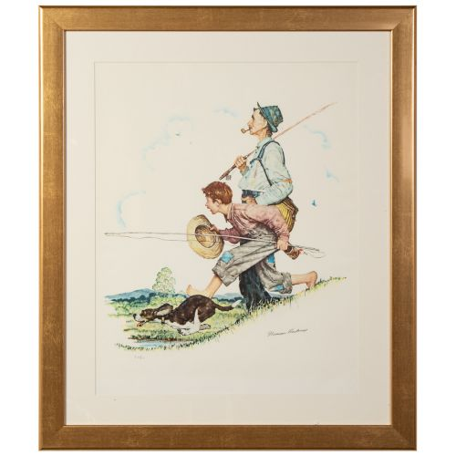 """Norman Rockwell, """"Grandpa and Me Suite: Fishing"""""""