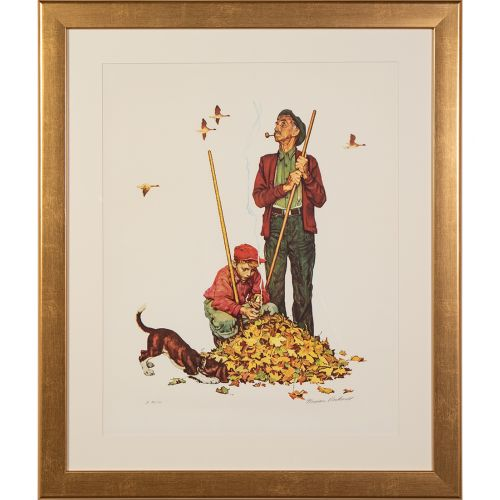 "Norman Rockwell, ""Grandpa and Me Suite: Raking Leaves"""