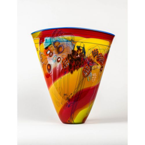 "Wes Hunting, ""Colorfield Vessel with Cadmium Interior"""
