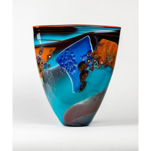 "Wes Hunting, ""Colorfield Vessel with Bleu Celeste Interior"""