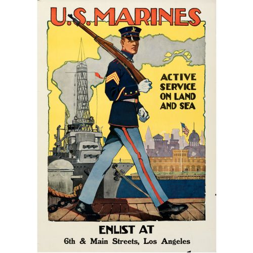 """Sidney Riesenberg, """"U.S. Marines, Active Service"""" 1917 Rolled WWI Recruitment Poster, Unframed, 28x39.5"""