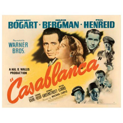 Casablanca 1942 Style B Half Sheet Poster on Paper Very Fine-