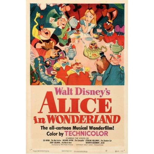 """RKO, """"Alice in Wonderland"""" 1951 One Sheet on Linen, Unframed, 27 x 41"""