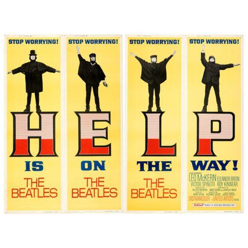 """""""Help!"""" 1965 Set of 4 Rolled Door Panel Posters Very Fine 20 x 60"""