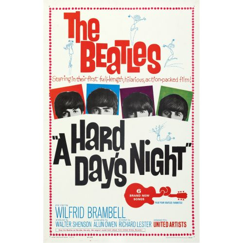 """United Artists, """"A Hard Day's Night"""" 1964 One Sheet on Linen, Very Fine+, Unframed, 27 x 41.5"""