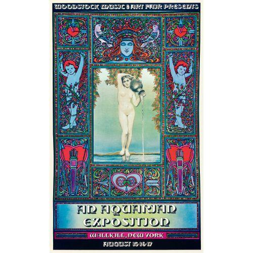 "David Byrd, ""Woodstock: An Aquarian Exposition, Wallkill, NY"" 1969 Festival Poster, Very Fine/Near Mint, Unframed, 13.75 x 22.5"